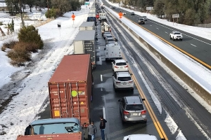 Hundreds stranded on Interstate 5 in 'bomb cyclone' fallout