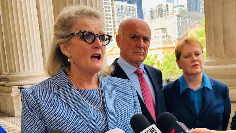 a couple of people posing for the camera: The royal commission's chair, Penny Armytage, told reporters it was clear the system was