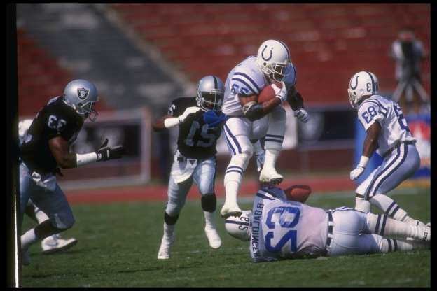 Slide 29 of 65: The Colts were so close to going winless in 1991. Their one victory came by a mere one point. They scored 28 points in their win, which was the most points they scored in a game all season. On the year, Indianapolis managed only 143 points and was held to single-digit points in 11 games. Stephen Dunn /Allsport