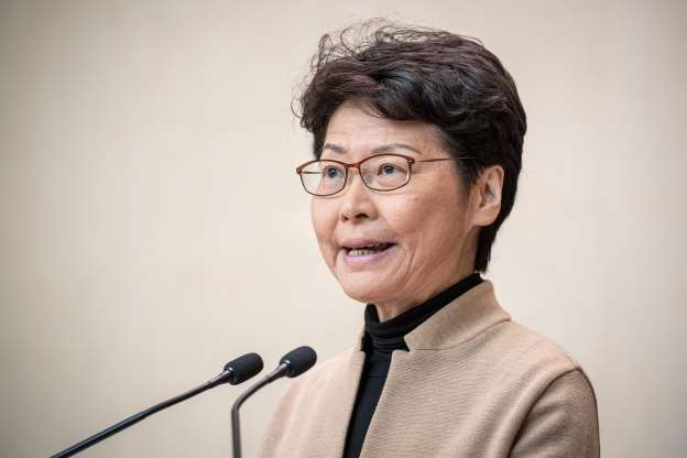 Slide 37 of 62: Hong Kong Chief Executive Carrie Lam speaks during a press conference in Hong Kong on November 19, 2019. - Lam said that protesters occupying a city centre university had to surrender if the three-day stand-off was to be resolved peacefully.
