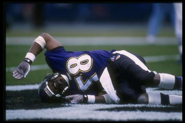 Slide 7 of 65: The Ravens' first season in Baltimore was also their worst. The team went 4-12, the only time they have won fewer than five games. They would turn it around quickly, which isn't surprising when you consider their draft class. In the first round of the 1996 NFL Draft, the Ravens took Jonathan Ogden and Ray Lewis. Al Bello /Allsport