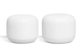 The Nest Wifi router, left, is the heart of your home network while the add-on points spread the connectivity around.
