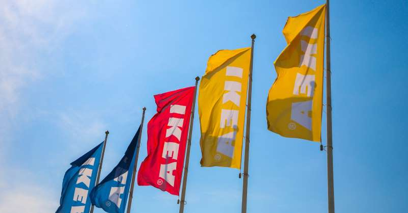 a close up of a flag: Ikea flags are seen in Krakow, Poland on 6 June, 2017. (Photo by Beata Zawrzel/NurPhoto via Getty Images)