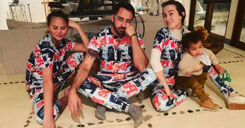 Chrissy Teigen Celebrates Thanksgiving in a Sexiest Man Alive Onesie Covered with John Legend