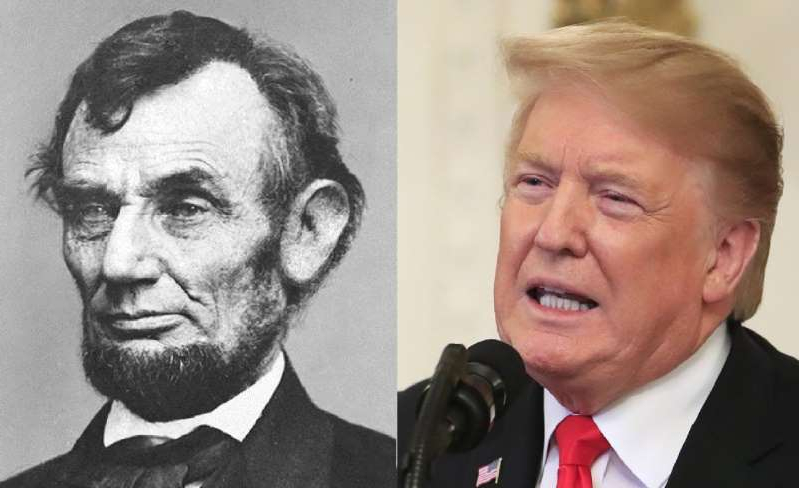 Donald Trump, Abraham Lincoln are posing for a picture
