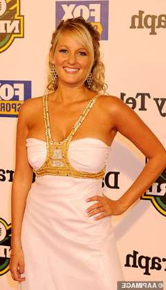 a person posing for the camera: Jessica Yates attends the Dally M awards in Sydney in 2008