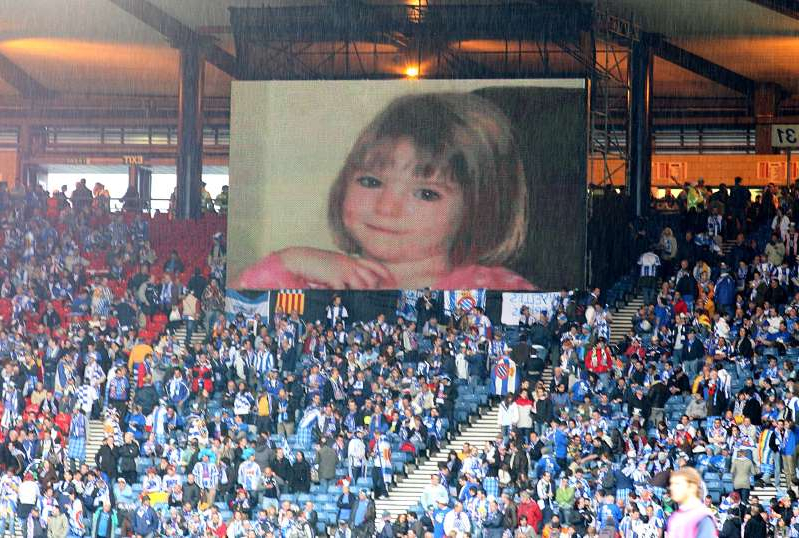 General View of the big screen showing missing girl Madeleine McCann   (Photo by Martin Rickett - PA Images/PA Images via Getty Images)