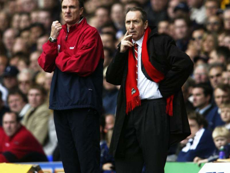 Gerard Houllier, Phil Thompson are posing for a picture: Houllier led Liverpool to a 12-game unbeaten start to the 2002/03 campaign