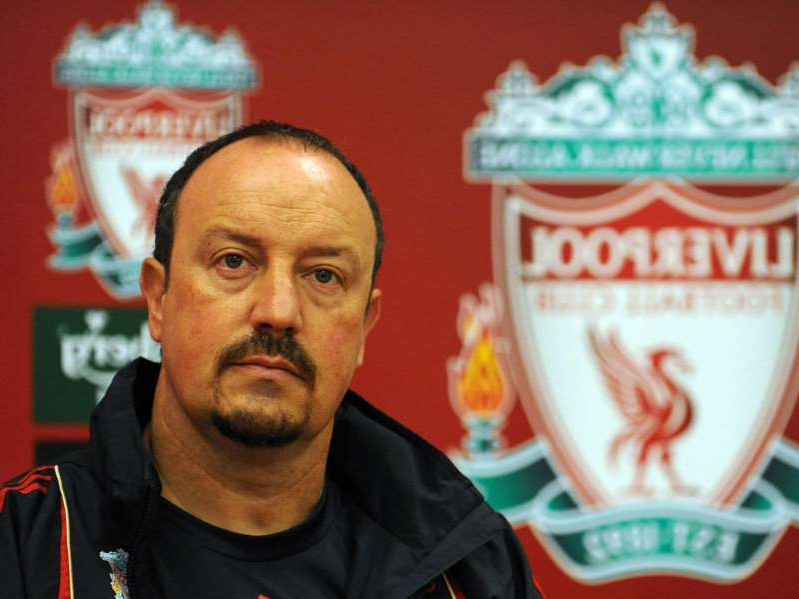 Rafael Benitez looking at the camera: Benitez's infamous press conference in January 2009 has often been blamed for the club's failure to win that season's title