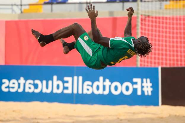 Slide 19 of 50: ASUNCION, PARAGUAY - NOVEMBER 26: Ninou Diatta of Senegal celebrates after scoring a goal of his team during the FIFA Beach Soccer World Cup Paraguay 2019 group C match between United Arab Emirates and Senegal at Estadio Mundialista
