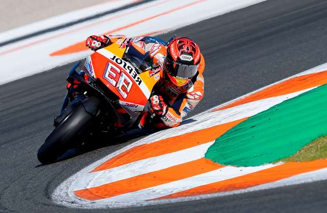 Slide 22 of 50: Repsol Honda Team Spanish rider Marc Marquez rides during a pre-season testing, at the Ricardo Tormo racetrack, in Cheste near Valencia, on November 20, 2019. (Photo by JOSE JORDAN / STR / AFP) (Photo by JOSE JORDAN/STR/AFP via Getty Images)
