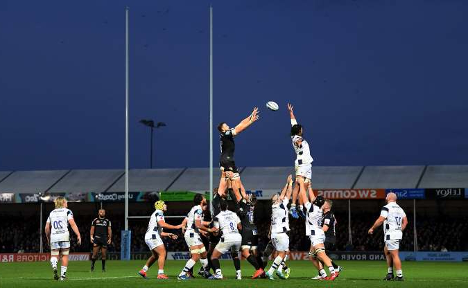 Slide 40 of 50: EXETER, ENGLAND - NOVEMBER 10: Jonny Hill of Exeter Chiefs wins the ball in the lineout during the Gallagher Premiership Rugby match between Exeter Chiefs and Bristol Bears at Sandy Park on November 10, 2019 in Exeter, England. (Photo by Alex Davidson/Getty Images)