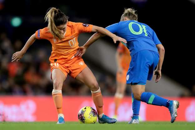 Slide 45 of 50: ARNHEM, NETHERLANDS - NOVEMBER 12: (L-R) Dominika Conc of Slovenia Women, Danielle van de Donk of Holland Women during the  EURO Qualifier Women  match between Holland  v Slovenia  at the GelreDome on November 12, 2019 in Arnhem Netherlands (Photo by Laurens Lindhout/Soccrates/Getty Images)