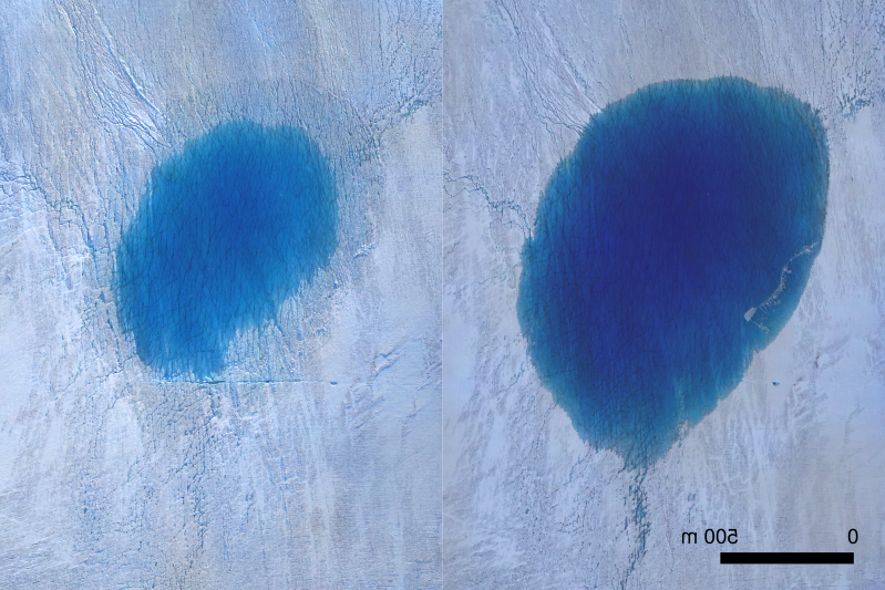a close up of a blue door: This is an aerial view of a lake on the Greenland Ice Sheet before (left) and after drainage (right). (Thomas R. Chudley)