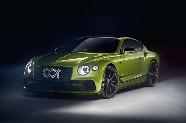 a close up of a green car: Limited-run Bentley Continental GT celebrates Pikes Peak win