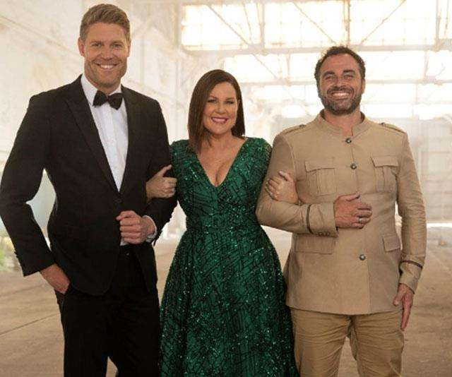 a person standing in front of Miguel Maestre, Chris Brown posing for a photo: Miguel Maestre (pictured with hosts Julia Morris and Dr Chris Brown) is the first celebrity officially confirmed.
