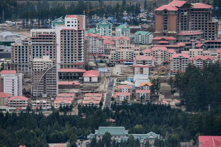 a view of a city: This photo of North Korea's Samjiyon, taken in September, shows part of the massive construction project opened on Tuesday