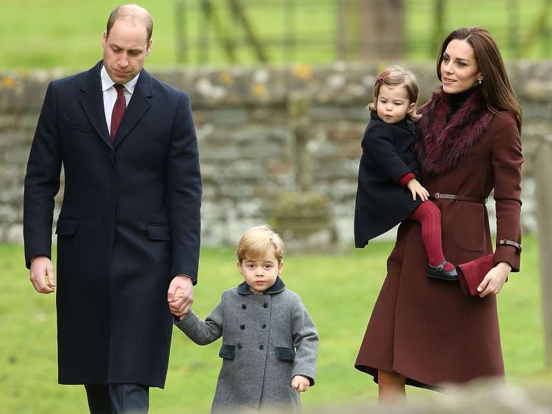 Catherine, Duchess of Cambridge, Prince William, Duke of Cambridge are posing for a picture: Kate, William, George and Charlotte attend church with the Middleton family in 2016.