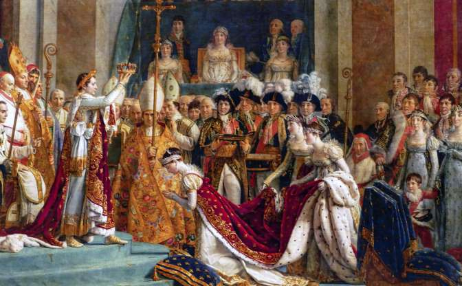 Folie 1 von 35: The Coronation of Napoleon (French: Le Sacre de Napoleon) is a painting completed in 1807 by Jacques-Louis David, the official painter of Napoleon, depicting the coronation of Napoleon I at Notre-Dame de Paris in 1804. (Photo by: Universal History Archive/Universal Images Group via Getty Images)