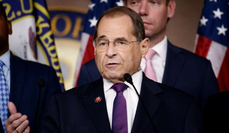 Jerrold Nadler wearing a suit and tie: House Judiciary Committee Chairman Jerry Nadler holds a news conference to discuss the Committee's oversight agenda following the Mueller hearing on Capitol Hill, July 26, 2019.