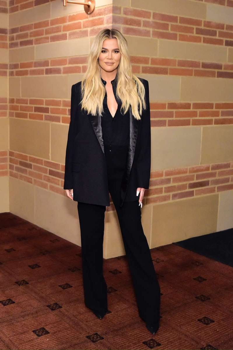 Khloe Kardashian standing in front of a brick wall: Khloe Kardashian attends The Promise Armenian Institute Event At UCLA at Royce Hall in Los Angeles on Nov. 19, 2019.