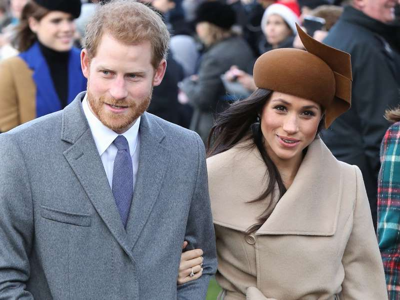 Meghan Markle, Prince Harry posing for the camera: Meghan and Harry spent Christmas at Sandringham with the royals in 2017.