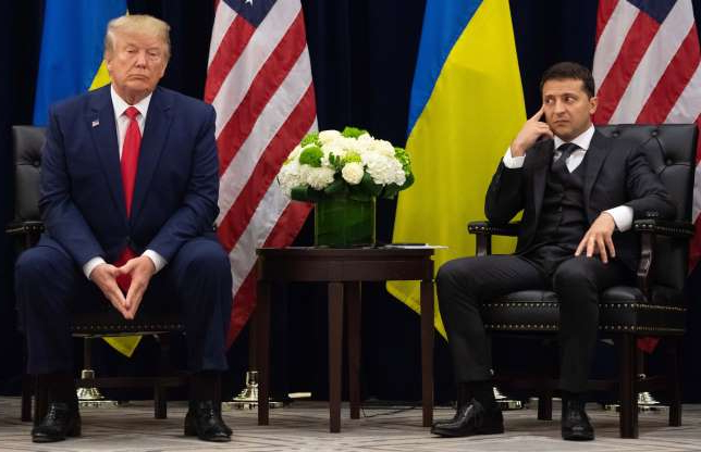 Slide 13 of 74: Trump and Zelensky met in New York on the sidelines of the United Nations General Assembly on Sept. 25, 2019.