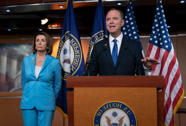 Slide 17 of 74: House Intelligence Committee Chairman Adam Schiff, D-Calif., joins Speaker of the House Nancy Pelosi, D-Calif., right, at a news conference as House Democrats move on depositions in the impeachment inquiry of Trump, at the Capitol in Washington, D.C., on Oct. 2, 2019.