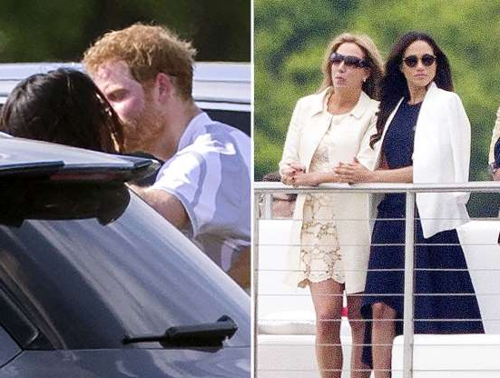Slide 18 of 36: As the prince participated in the Audi Polo Challenge, Markle (believed to have) attended the event and cheered from the sidelines (pictured L).   Next day on May 7, 2017, paparazzi caught the two sharing a parking lot kiss after the event (pictured R).