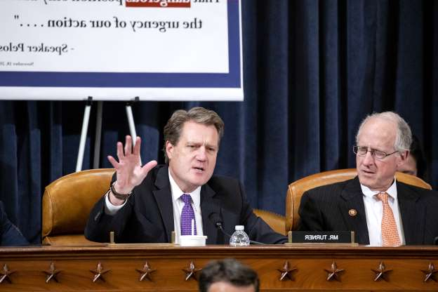 Slide 23 of 67: WASHINGTON, DC - NOVEMBER 20: Rep. Michael Turner (R-OH) questions Gordon Sondland, the U.S ambassador to the European Union, during testimony before the House Intelligence Committee in the Longworth House Office Building on Capitol Hill November 20, 2019 in Washington, DC. The committee heard testimony during the fourth day of open hearings in the impeachment inquiry against U.S. President Donald Trump, whom House Democrats say held back U.S. military aid for Ukraine while demanding it investigate his political rivals and the unfounded conspiracy theory that Ukrainians, not Russians, were behind the 2016 computer hacking of the Democratic National Committee.  (Photo by Samuel Corum-Pool/Getty Images)