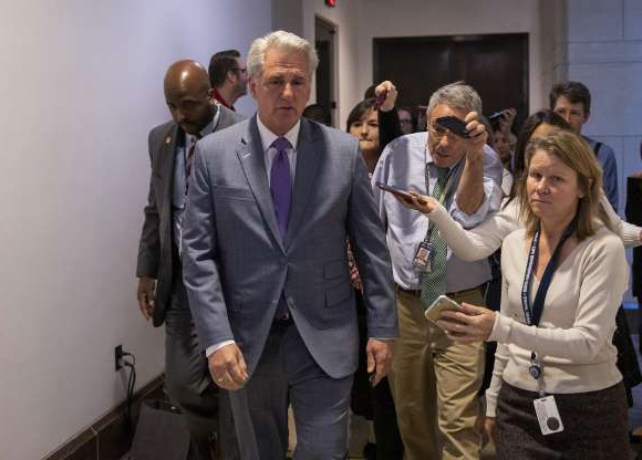 Slide 24 of 74: House Minority Leader Kevin McCarthy (R-CA) talks to the media after a closed session before the House Intelligence, Foreign Affairs and Oversight committees Oct. 15, 2019 at the U.S. Capitol in Washington, DC.