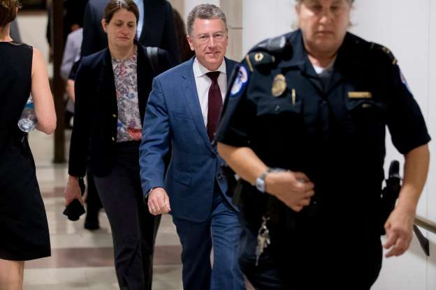 Slide 26 of 74: Kurt Volker, a former special envoy to Ukraine, leaves a closed door meeting on Capitol Hill in Washington, Oct. 16, 2019, after testifying before congressional lawmakers as part of the House impeachment inquiry into President Donald Trump.