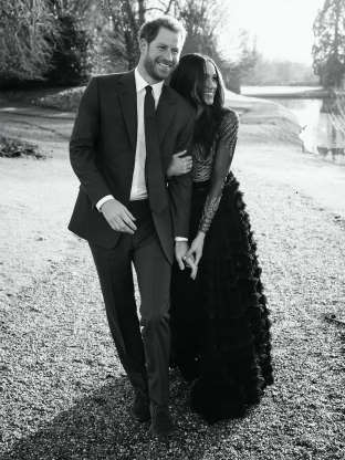 Slide 32 of 36: A third official engagement photo released by Kensington Palace of Prince Harry and Meghan Markle taken by Alexi Lubomirski earlier this week at Frogmore House, Windsor.