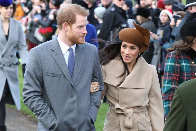 Slide 33 of 36: Meghan Markle and Prince Harry attend Christmas Day Church service at Church of St Mary Magdalene on December 25, 2017 in King's Lynn, England.