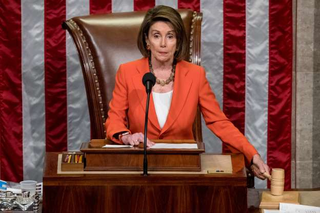 Slide 38 of 74: House Speaker Nancy Pelosi of Calif. gavels as the House votes 232-196 to pass resolution on impeachment procedure to move forward with procedures for the next phase of the impeachment inquiry into President Trump in the House Chamber on Capitol Hill in Washington, Oct. 31, 2019. The resolution would authorize the next stage of impeachment inquiry into President Donald Trump, including establishing the format for open hearings, giving the House Committee on the Judiciary the final recommendation on impeachment, and allowing President Trump and his lawyers to attend events and question witnesses.
