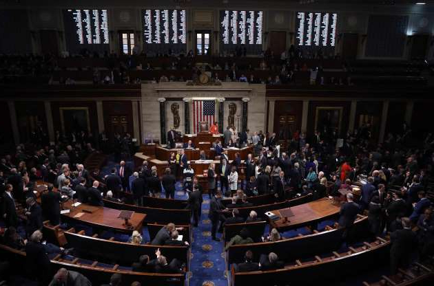 Slide 39 of 74: The US House of Representatives votes on a resolution formalizing the impeachment inquiry centered on President Donald Trump, Oct. 31, 2019 in Washington, DC. Congress formally opened a new, public phase of its presidential investigation as lawmakers voted for the first time to advance the impeachment process against Donald Trump. The chamber voted largely along party lines, 232 to 196, to formalize the process, which also provides for opportunities for Trump's counsel to cross-examine witnesses.