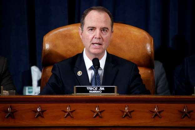 Slide 55 of 67: House Intelligence Committee Chairman Adam Schiff, D-Calif., gives his opening remarks as Jennifer Williams, an aide to Vice President Mike Pence, and National Security Council aide Lt. Col. Alexander Vindman, testify before the House Intelligence Committee as part of the impeachment inquiry into U.S. President Donald Trump on Capitol Hill in Washington, U.S., November 19, 2019. Shawn Thew/Pool via REUTERS - RC2FED9VG1EA