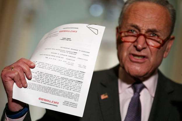 Slide 9 of 74: Senate Minority Leader Chuck Schumer of N.Y. holds up a copy of a rough transcript of a phone call between President Donald Trump and the President of Ukraine released by the White House. Schumer was speaking to the media about an impeachment inquiry of Trump  on Sept. 25, 2019, on Capitol Hill in Washington, D.C.
