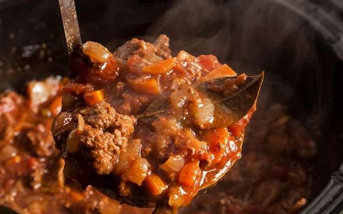 a close up of food: Easy Slow Cooker Spaghetti Bolognese recipe