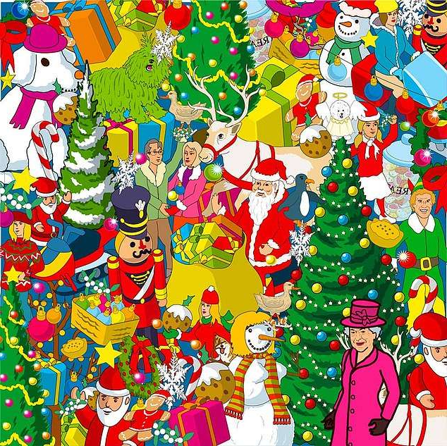 In a series of four tricky puzzles, the Queen's four-legged friend has dashed away is hiding amid a Christmas scene with Buddy the Elf, Father Christmas and bags of presents