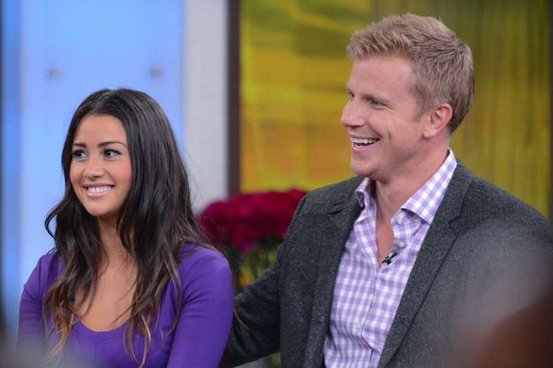 NEW YORK, NY - MARCH 12:  TV personalities Sean Lowe (L) and Catherine Giudici tape an interview in New York City.  (Photo by Ray Tamarra/Getty Images)