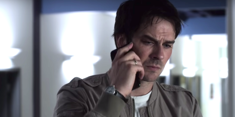 Ian Somerhalder wearing glasses talking on a cell phone: Vampire Diaries' Ian Somerhalder wants one, but will Netflix renew the new vampire show?
