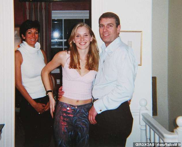 Prince Andrew, Duke of York, Ghislaine Maxwell are posing for a picture: The Duke of York denied having slept with 17-year-old Virginia Roberts (pictured together) at the Belgravia home of Ghislaine Maxwell - who is accused of trafficking in young women for Epstein