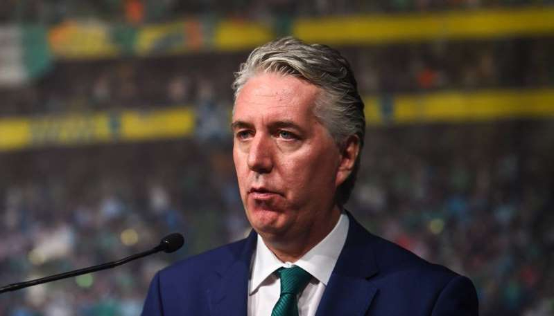 a man wearing a suit and tie: JOHN DELANEY: Massive payouts from the FAI. Picture: Sportsfile