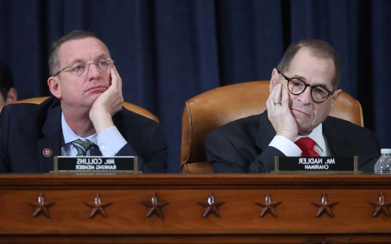 Jerrold Nadler, Doug Collins are posing for a picture: House Judiciary Committee holds evidenciary hearing on Trump impeachment inquiry on Capitol Hill in Washington
