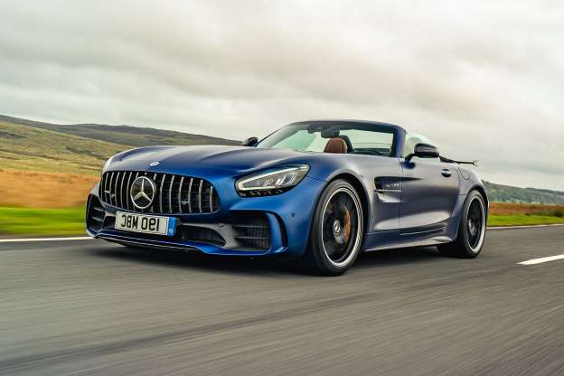a car driving on a road: Mercedes-AMG GT R Roadster 2020 UK review