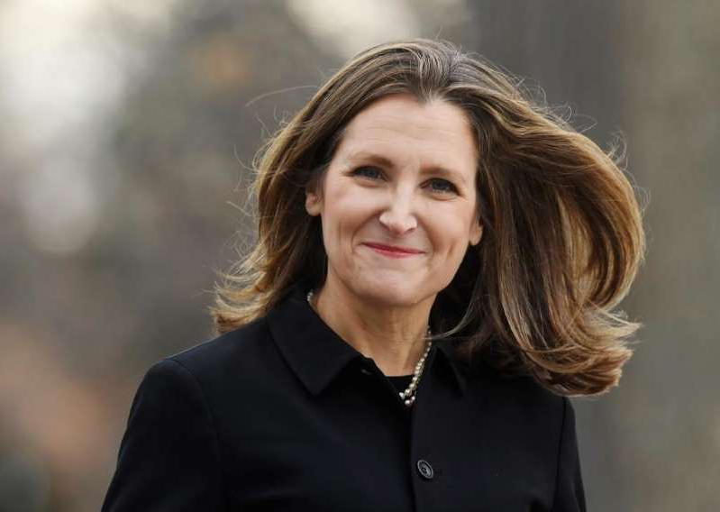 Chrystia Freeland wearing a black shirt: Liberal MP Chrystia Freeland arrives for the cabinet swearing-in ceremony in Ottawa on Wednesday, Nov. 20, 2019.