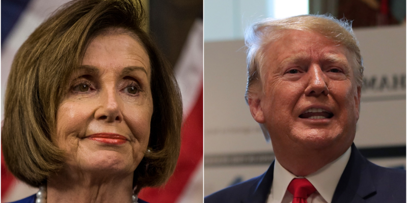 Donald Trump, Nancy Pelosi are posing for a picture