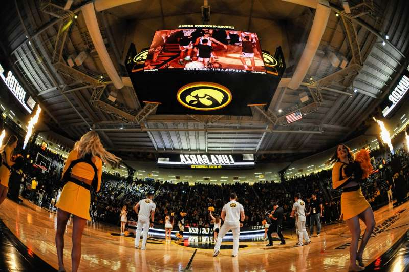 a group of people at a train station: A general view of Carver-Hawkeye Arena before the game between the Iowa Hawkeyes and the Minnesota Golden Gophers on December 9, 2019.