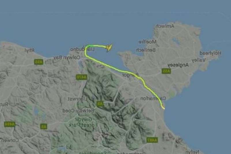 a close up of a map: Flight radar shows aircraft flying from Caernarfon Airport before vanishing